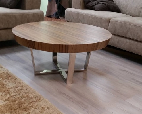 שולחן עגול צבע אגוז